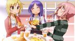 3girls ahoge bangs bedroom blonde_hair blush cake cheese_trail closed_eyes cup drink drinking_glass eating food hinata_yukari hood hoodie ichii_yui indoors long_sleeves low_twintails multiple_girls nonohara_yuzuko parted_bangs pink_hair pizza purple_hair red_eyes red_sweater short_hair sweater table taka_(takahirokun) turtleneck twintails yellow_eyes yuyushiki
