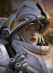 1girl 3d blonde_hair blue_eyes eyebrows helmet highres kimyongsu lips medic nose parted_lips portrait power_armor realistic red_cross solo starcraft starcraft_2 syringe visor