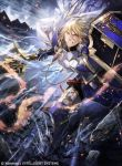 1boy armor armored_boots blonde_hair boots cape company_name fire fire_emblem fire_emblem_cipher fire_emblem_if gloves ignis_(fire_emblem_if) jewelry kyouka_hatori long_hair necklace official_art polearm shield solo spear teeth violet_eyes weapon