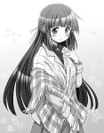1girl black_hair blush hair_ribbon hidamari_sketch highres long_hair looking_at_viewer matsuki_miyu monochrome ribbon shawl smile solo watch watch yoshinoya yoshitani_motoka