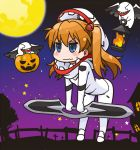 1girl angel_(evangelion) angry blue_eyes blush chibi costume halloween jack-o'-lantern lantern long_hair mass_production_eva moon neon_genesis_evangelion night night_sky orange_hair pumpkin rebuild_of_evangelion shikinami_asuka_langley sky smile solo souryuu_asuka_langley youkan