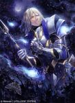 1boy armor blonde_hair company_name fire_emblem fire_emblem_cipher fire_emblem_if gloves ignis_(fire_emblem_if) jewelry kyouka_hatori leaf long_hair moon moth necklace official_art polearm solo spear teeth tree violet_eyes weapon