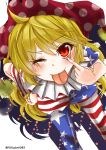 1girl ;p akanbe american_flag american_flag_dress american_flag_legwear american_flag_shirt bent_over blonde_hair clownpiece fox_udon frilled_shirt_collar frills hand_on_hip hat highres jester_cap leaning_forward long_hair looking_at_viewer neck_ruff one_eye_closed pantyhose polka_dot print_legwear red_eyes short_sleeves simple_background smile solo standing star tongue tongue_out touhou twitter_username white_background