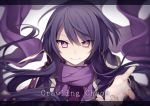 >:) androgynous black_hair blurry closed_mouth commentary_request depth_of_field english floating_hair hijiri_(resetter) jacket letterboxed long_hair looking_at_viewer nyarlathotep open_clothes open_jacket original personification pink_eyes purple_scarf reaching_out scarf smile solo upper_body