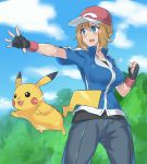 1girl baseball_cap blue_eyes blush breasts brown_hair collarbone evuoaniramu fingerless_gloves gloves hat large_breasts open_mouth pikachu pokemon pokemon_(anime) pokemon_(creature) pokemon_xy_(anime) satoshi_(pokemon)_(cosplay) serena_(pokemon) short_hair smile solo