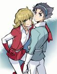 2boys arm_over_shoulder belt black_hair blonde_hair blue_background blue_shirt character_request copyright_request cowboy_shot curly_hair gloves gradient gradient_background green_eyes grey_eyes hairband highres long_hair looking_at_viewer multiple_boys pants popped_collar red_shirt shimo_(s_kaminaka) shirt tunic white_background white_gloves white_pants
