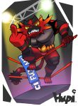 artist_name claws english fangs green_eyes incineroar middle_finger no_humans pokemon pokemon_(game) pokemon_sm spotlight tiger tiger.cake.g wrestler wrestling_ring