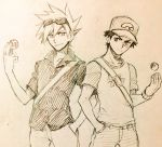 2boys backpack bag baseball_cap denim hand_in_pocket hat highres holding holding_poke_ball ink_(medium) jeans male_focus master_ball multiple_boys ookido_green ookido_green_(sm) open_collar pants poke_ball pokemon pokemon_(game) pokemon_sm red_(pokemon) red_(pokemon)_(sm) sei_jun serious short_hair spiky_hair sunglasses sunglasses_on_head tossing traditional_media