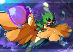 arrow artist_name dated decidueye feathered_wings feathers leaf night night_sky no_humans orange_eyes pokemon pokemon_(creature) pokemon_(game) pokemon_sm sky solo tomycase tree wings