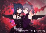 2girls angel_wings bare_shoulders blue_hair blush chuunibyou crossover drill_hair duffy gothic_lolita hair_bun halloween happy_halloween highres idolmaster idolmaster_cinderella_girls kanzaki_ranko lolita_fashion long_hair looking_at_viewer love_live! love_live!_sunshine!! multiple_girls red_eyes rosenburg_engel side_bun silver_hair smile trait_connection tsushima_yoshiko twin_drills twintails violet_eyes wings