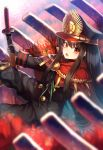 1girl black_hair blurry cape demon_archer depth_of_field fate/grand_order fate_(series) flower hat highres japanese_clothes kaina_(tsubasakuronikuru) katana koha-ace long_hair military military_uniform red_eyes smile solo spider_lily sword uniform weapon
