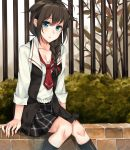 black_legwear blue_eyes braiding_hair breasts brown_hair checkered checkered_skirt cleavage collarbone fence flower_bed hair_ribbon hairdressing highres kantai_collection long_hair looking_at_viewer necktie open_clothes open_mouth ribbon rinarisa school_uniform shigure_(kantai_collection) shirt sitting skirt socks thighs tree