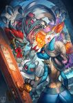 absurdres bandages braixen claws fangs fox halloween highres lucario lycanroc pokemon riolu sa-dui trick_or_treat wolf zoroark