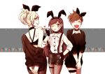 3girls animal_ears arms_behind_back back bandeau bangs bare_shoulders black_choker black_dress black_gloves black_nails black_shorts black_sweater blush breasts brown_hair brown_legwear buttons choker closed_eyes closed_mouth collared_shirt cowboy_shot d.va_(overwatch) dress dress_shirt eyebrows eyebrows_visible_through_hair facepaint facial_mark fake_animal_ears fingerless_gloves fingernails from_behind gloves hairband hand_on_hip hands_together hands_up ieru1826 lipstick long_hair looking_back makeup mercy_(overwatch) multiple_girls nail_polish off-shoulder_sweater open_mouth overwatch pantyhose parted_lips pink_lips pink_lipstick ponytail rabbit_ears red_lips red_lipstick ribbon_choker shirt short_dress short_hair short_sleeves shorts shoulder_blades skirt sleeves_past_elbows smile spiky_hair suspenders sweatdrop sweater sweater_dress swept_bangs teeth thigh_strap tracer_(overwatch) whisker_markings white_shirt