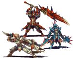 3boys abysswolf armor arms_up barioth_(armor) breastplate covered_eyes dual_wielding fighting_stance full_armor full_body gauntlets greatsword greaves helmet holding holding_sword holding_weapon horned_helmet horns huge_weapon hunting_horn lagiacrus_(armor) lowres male_focus monster_hunter multiple_boys pauldrons pixel_art rathalos_(armor) spikes standing sword transparent_background weapon