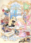 blonde_hair book cattleya_(pokemon) clearfile highres instrument lucario official_art piano pokemon reuniclus roserade shirona_(pokemon) spiritomb