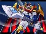 black_border border cape highres mazinemperor_g mecha no_humans nomayo shin_mazinger_zero sunrise_stance super_robot super_robot_wars super_robot_wars_v sword weapon