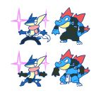 cosplay feraligatr greninja kill_la_kill kinagase_tsumugu mikisugi_aikurou nudist_beach_uniform plainwhite pokemon