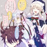1boy 2girls bell black_gloves black_hair blonde_hair blush breasts capelet elbow_gloves fate/apocrypha fate/grand_order fate_(series) fujimaru_ritsuka_(male) gloves hair_ribbon hat headpiece helmet jeanne_alter jeanne_alter_(santa_lily)_(fate) long_hair looking_at_viewer multiple_girls ribbon ruler_(fate/apocrypha) ruler_(fate/grand_order) saber saber_alter santa_alter santa_costume santa_hat short_hair smile thigh-highs yellow_eyes