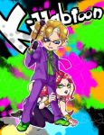 2boys black_lipstick blonde_hair blue_eyes cheekbones diavolo domino_mask formal green_eyes inkling jojo_no_kimyou_na_bouken kakitubatayota kira_yoshikage kneeling lipstick long_hair makeup male_focus mask multiple_boys necktie open_mouth parody pink_hair smile splatoon suit super_soaker tentacle_hair wristband