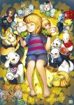 annoying_dog asgore_dreemurr asriel_dreemurr chara_(undertale) closed_eyes copyright_name flowey_(undertale) frisk_(undertale) heart lying monster_kid_(undertale) on_back papyrus_(undertale) sans sosoa standing tail_wagging temmie toriel undertale undyne w.d._gaster