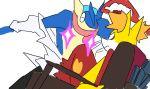 delphox greninja kill_la_kill matoi_ryuuko mikisugi_aikurou no_humans parody plainwhite pokemon pokemon_(creature) sparkle