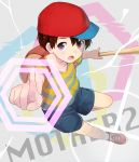 1boy backpack bag baseball_bat black_hair cocolo_(co_co_lo) copyright_name hat male_focus mother_(game) mother_2 ness purple_hair shirt shoes shorts sneakers solo striped striped_shirt