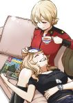 2girls black_shirt blonde_hair blush boots closed_eyes couch cup darjeeling dog_tags girls_und_panzer green_jacket ground_vehicle head_on_knees highres hone_(honehone083) jacket jacket_removed kay_(girls_und_panzer) magazine military military_vehicle motor_vehicle multiple_girls on_couch one_eye_closed red_jacket saucer saunders_military_uniform shirt smile st._gloriana's_military_uniform t-shirt tank tea teacup watch yuri