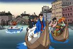 1girl arsene_lupin_iii black_hair boat brown_hair formal hat highres ishikawa_goemon_xiii jigen_daisuke lupin_iii mine_fujiko multiple_boys smile suit watercraft