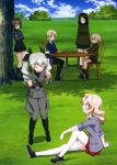 6+girls absurdres anchovy bangs belt black_boots black_hair black_legwear black_shirt black_shoes black_skirt blazer blonde_hair blouse blue_eyes blue_skirt boots braid brown_eyes brown_hair chair closed_eyes clouds cloudy_sky crossed_arms darjeeling dress_shirt drill_hair emblem girls_und_panzer green_hair green_jacket grey_jacket grey_pants grey_shirt hair_ribbon highres jacket katyusha kay_(girls_und_panzer) knee_boots loafers long_hair long_sleeves looking_at_another military military_uniform miniskirt multiple_girls necktie nishizumi_maho nonna official_art open_clothes open_jacket outdoors pants pantyhose parted_lips pleated_skirt red_shirt red_skirt ribbon school_uniform shade shirt shoes short_hair shoulder_belt sitting skirt sky sleeves_rolled_up smile socks standing sweater swept_bangs table thigh-highs tied_hair turtleneck twin_braids twin_drills twintails uniform v-neck white_blouse white_legwear white_shirt