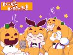 >_< 4girls blonde_hair chibi closed_eyes comic commentary_request dress enemy_aircraft_(kantai_collection) fang hands_up hat jack-o'-lantern kantai_collection mittens multiple_girls neckerchief northern_ocean_hime open_mouth orange_eyes pumpkin_costume rensouhou-chan sako_(bosscoffee) shimakaze_(kantai_collection) sleeveless sleeveless_dress smile star striped striped_legwear suspenders translation_request witch_hat yuudachi_(kantai_collection)