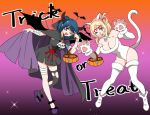 2girls animal_ears bandages black_dress blonde_hair blue_hair breasts brooch cape cat_ears cat_paws cat_tail cleavage comic dress eyeball fake_animal_ears fake_horns fake_tail fangs gradient gradient_background halloween halloween_costume jewelry long_hair looking_at_viewer love_live! love_live!_sunshine!! misu_kasumi multiple_girls ohara_mari one_eye_closed open_mouth paws silent_comic single_thighhigh skull tail thigh-highs torn_clothes torn_thighhighs trick_or_treat tsushima_yoshiko violet_eyes whisker_markings white_legwear yellow_eyes