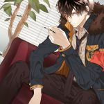 1boy armband belt black_neckwear black_pants blinds brown_hair chair cigarette collar_x_malice fur_trim highres inside looking_at_viewer male_focus necktie nomeko_jiru pants plant safety_pin sitting violet_eyes yanagi_aiji