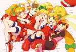5girls ^_^ android artist_request blonde_hair blue_eyes boots closed_eyes dress flat_chest gloves green_eyes hair_ribbon helmet highres knee_boots long_hair multiple_girls official_art open_mouth pantyhose ponytail red_shorts red_skirt ribbon rockman rockman_(classic) rockman_dash rockman_exe rockman_rockman roll roll_caskett roll_exe shorts skirt smile