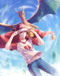 :< artist_name bare_arms baseball_cap blue_pants blue_sky brown_eyes brown_hair character_name charizard closed_mouth clothes_writing clouds copyright_name day falling_leaves frown half-closed_eyes hand_on_another's_head hand_on_headwear hat light_particles male_focus motion_blur number pants pikachu pokemon pokemon_(creature) pokemon_(game) pokemon_sm raglan_sleeves red_(pokemon) red_(pokemon)_(sm) red_cape shade shirt short_sleeves shuryukan sky stomach t-shirt wind