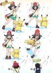 >_< 1boy 1girl alolan_raichu backpack bag bangs bare_legs baseball_cap beanie black_hair blue_eyes blush closed_eyes female_protagonist_(pokemon_sm) gameplay_mechanics green_shorts handbag hat highres how_to kingin looking_at_viewer male_protagonist_(pokemon_sm) numbered open_mouth pikachu pokemon pokemon_(creature) pokemon_(game) pokemon_sm pose raichu red_hat shirt shoes short_hair short_shorts short_sleeves shorts sneakers sparkle striped striped_shirt swept_bangs t-shirt throwing translation_request wide_sleeves z-move z-ring