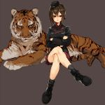 1girl animal ankle_boots black_boots black_jacket black_legwear boots brown_eyes brown_hair crossed_legs garrison_cap girls_und_panzer hat jacket ky_(kurokky709) military military_uniform nishizumi_maho red_shirt red_skirt shirt short_hair simple_background sitting skirt tiger uniform