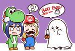 3girls artist_name ascii_media_works bushiroad chibi chroneco costume ghost halloween highres kurosawa_dia love_live! love_live!_school_idol_project love_live!_sunshine!! mario mario_(cosplay) mario_(series) matsuura_kanan multiple_girls nintendo nintendo_ead ohara_mari sunrise_(studio) super_mario_bros. super_smash_bros. tokyo_mx yoshi yoshi_(cosplay)