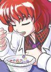1girl blazer cereal closed_eyes collared_shirt dated eating eyebrows froot_loops highres horikawa_raiko jacket necktie profitshame redhead shirt short_hair signature solo thick_eyebrows touhou