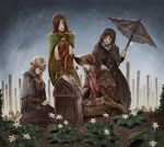 4girls absurdres black_hair blonde_hair bloodborne company_connection dark_souls dark_souls_ii dark_souls_iii doll fire_keeper flower from_software grave hat highres long_hair multiple_girls plain_doll rain redhead rose souls_(from_software) spoilers umbrella white_hair