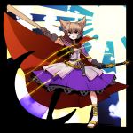 1girl belt black_border black_gloves border brown_eyes brown_hair earmuffs full_body gloves high_collar kikoka_(mizuumi) looking_at_viewer outstretched_arm parted_lips purple_cape purple_skirt red_cape ritual_baton sandals scabbard sheath sheathed shirt skirt solo standing sword tagme touhou toyosatomimi_no_miko weapon white_shirt