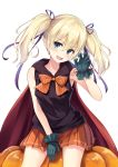 1girl :d armpit_peek between_legs blonde_hair blue_eyes bow bowtie breasts claw_pose cowboy_shot eyebrows eyebrows_visible_through_hair fang gloves hair_between_eyes hair_ribbon halloween hand_between_legs head_tilt long_hair looking_at_viewer open_mouth orange_bow orange_bowtie orange_skirt original oukatihiro pleated_skirt pointy_ears pumpkin purple_ribbon red_cape ribbon simple_background sitting skirt sleeveless sleeveless_hoodie small_breasts smile solo striped striped_bow striped_bowtie twintails white_background