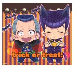 anchor_symbol animal_ears bat blue_hair cape chibi closed_eyes cross dollar_sign facial_mark fangs gakuran grey_eyes heart higashikata_jousuke highres jack-o'-lantern jojo_no_kimyou_na_bouken kameron kemonomimi_mode multicolored_hair nijimura_okuyasu open_mouth outstretched_arms paw_pose peace_symbol pompadour school_uniform signature smile striped striped_background tail trick_or_treat two-tone_hair wolf_ears wolf_tail