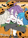 3boys ^_^ bat blue_hair closed_eyes freckles gokotai hair_over_one_eye halloween hug jack-o'-lantern kagetora kasen_kanesada male_focus multiple_boys open_mouth pumpkin_costume purple_hair sayo_samonji smile touken_ranbu twitter_username white_hair