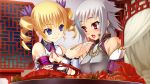 2girls architecture armlet arms_up bare_shoulders bed bedroom blonde_hair blue_eyes blush body_offscreen bow bracelet breasts buttons chinese_clothes chopsticks cleavage curtains drill_hair ears east_asian_architecture eating eyebrows eyebrows_visible_through_hair eyes feeding fingers food frills fringe gakushin game_cg gold hair_ornament hands head_tilt head_to_head hikage_eiji holding indoors jewelry koihime_enbu koihime_musou lobster lobster_claw looking_at_another medium_breasts multiple_girls night night_sky open_eyes open_mouth out_of_frame pillow pink_ribbon plate pleated purple_ribbon ribbon ribbon_trim scar scar_across_eye short_hair silver_hair sitting sky small_breasts smile sousou tongue twin_drills twintails upper_body vegetable violet_eyes wall window