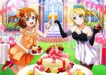 2girls ayase_eli blonde_hair blue_eyes blush cake cup dress drinking_glass elbow_gloves flower food gloves hair_flower hair_ornament highres jewelry kousaka_honoka long_hair looking_at_viewer love_live! love_live!_school_idol_festival love_live!_school_idol_project multiple_girls necklace open_mouth orange_hair pantyhose pastry ponytail ribbon short_dress side_ponytail smile