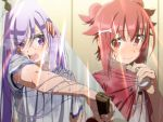2girls arrow_hair_ornament ball bangs boko_(maniacpurple) bone_hair_ornament collar_tug dripping eyebrows eyebrows_visible_through_hair flush gym_shirt hair_ribbon highres holding_ball hot kamiya_agari light_rays long_hair multiple_girls paddle purple_hair red_eyes redhead ribbon shakunetsu_no_takkyuu_musume shirt short_hair short_twintails smile split_screen sweat sweat_stain sweating sweating_profusely swept_bangs table_tennis_ball table_tennis_paddle tsumujikaze_koyori twintails upper_body violet_eyes wet wet_clothes wet_shirt wiping_face wiping_sweat