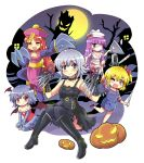 ... 6+girls arm_warmers bandaged_head bat_wings blonde_hair boots child's_play china_dress chinese_clothes choker chucky chucky_(cosplay) claws cleavage_cutout closed_eyes colonel_aki commentary dress edward_scissorhands edward_scissorhands_(cosplay) flandre_scarlet full_moon halloween hat highres holding holding_sword holding_weapon hong_meiling izayoi_sakuya jack-o'-lantern jiangshi knee_boots knee_up koakuma lavender_hair lei_lei lei_lei_(cosplay) leotard lilith_aensland lilith_aensland_(cosplay) long_hair long_sleeves moon multiple_girls nurse_(silent_hill) nurse_(silent_hill)_(cosplay) nurse_cap ofuda one_eye_closed one_eye_covered open_mouth overall_skirt pantyhose patchouli_knowledge purple_hair pyramid_head pyramid_head_(cosplay) redhead remilia_scarlet scissors short_hair silent_hill silver_hair sitting sleeveless sleeveless_dress smile spoken_ellipsis sweatdrop sword thigh-highs touhou translation_request vampire_(game) weapon wings