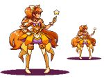 1girl bangs bare_shoulders black_eyes boots bow breasts cleavage closed_mouth cure_twinkle full_body gloves hair_bow hair_ornament hand_on_hip high_heels long_hair lowres medium_breasts migel_futoshi orange_hair pixel_art precure profile purple_bow simple_background smile solo standing star tailcoat thigh-highs thigh_boots twintails very_long_hair white_background white_boots white_bow white_gloves