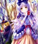 2girls angel_beats! apple bare_tree bird blonde_hair blue_bow blush bow brown_hair choker cloak closed_mouth collarbone day earpiece expressionless eyebrows eyebrows_visible_through_hair food forest fruit gloves goto_p hair_bow hair_ribbon hat head_tilt highres holding holding_fruit lavender_hair long_hair multiple_girls nature orange_skirt outdoors parted_lips peeking_out puffy_short_sleeves puffy_sleeves queen_(snow_white)_(cosplay) red_ribbon ribbon scan shirt short_sleeves skirt snow_white snow_white_(cosplay) sparkle standing tenshi_(angel_beats!) tree two_side_up very_long_hair white_gloves wicked witch witch_hat yellow_eyes yusa_(angel_beats!)
